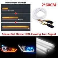 2PCS DC 12V Car Turn Signal DRL White Amber Decorative Strip Light 60cm Flexible LED Tube