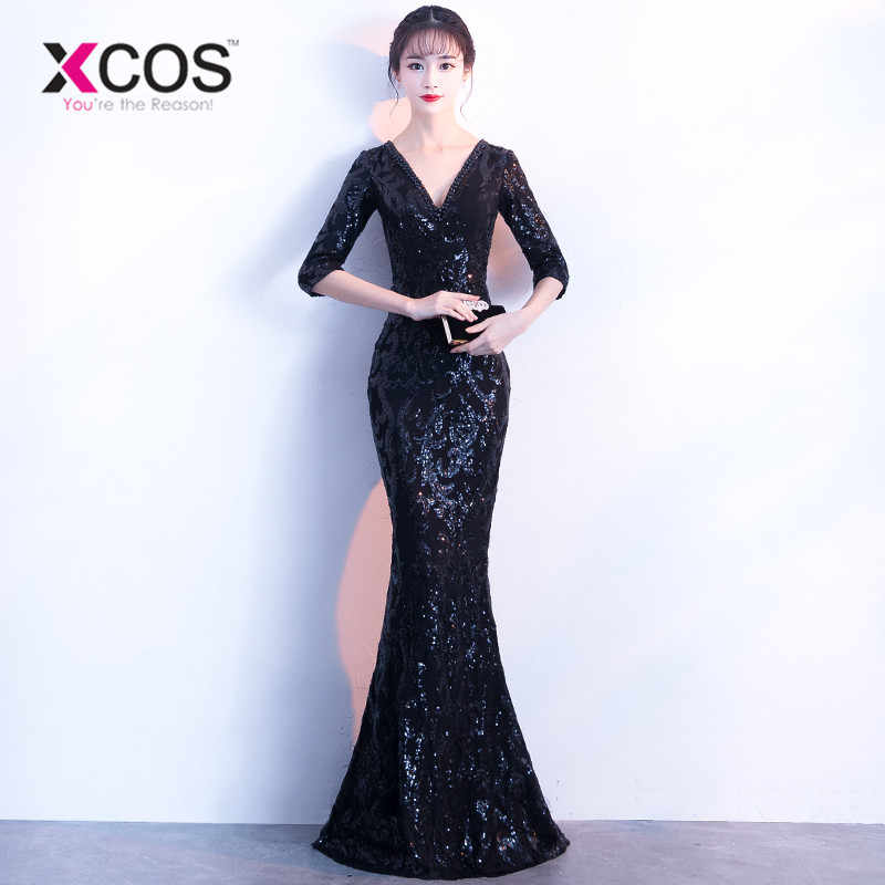 384f59666359c XCOS V-neck See-through Back Sequins Party Formal Dress Half Sleeve Beads  Sexy Long Evening Dresses