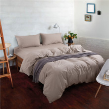 Lightweight  Washing Cotton Duvet Cover Comportable 4PCS Bedding Sets Simple Style Pure Color Design King Queen Size