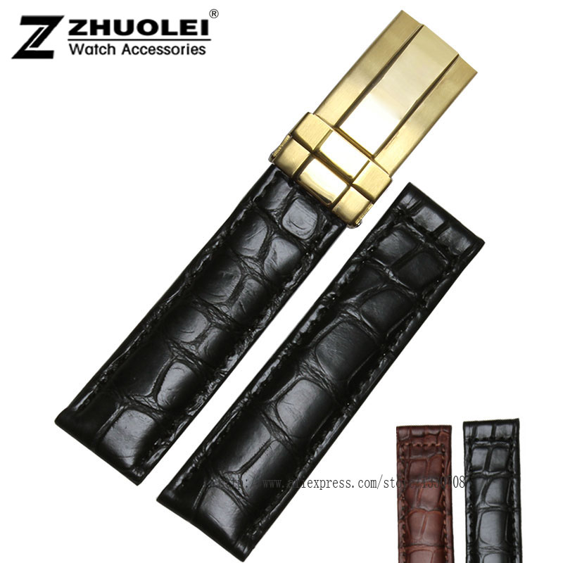 19mm 20mm  Black Brown Genuine Alligator Leather Watch Strap Band silver gold Rose goldstainless steel Deployment Buckle 16mm 18mm 20mm new bule alligator grain genuine leather watch band strap bracelets gold deployment buckle clasp free shipping