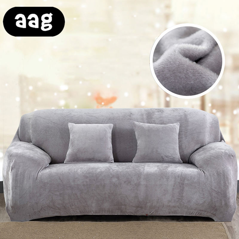 AAG Plush fabirc Sofa cover 1/2/3/4 seater thick Slipcover couch sofacovers stretch elastic cheap sofa cover Towel wrap covering