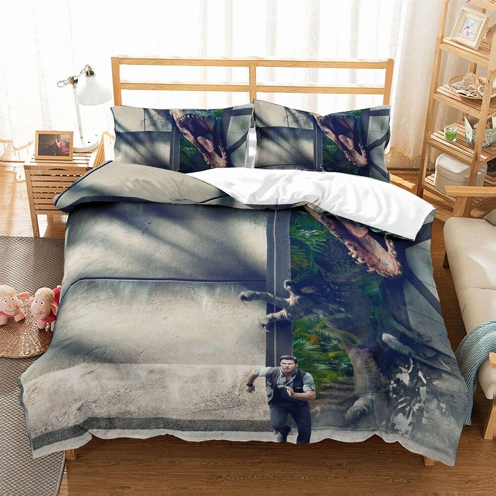 3D Bedding Set Jurassic Park Dinosaur Print Microfiber Duvet Cover Set Bedclothes With Pillowcase 3PCS AU/EU/US Size Bed Set