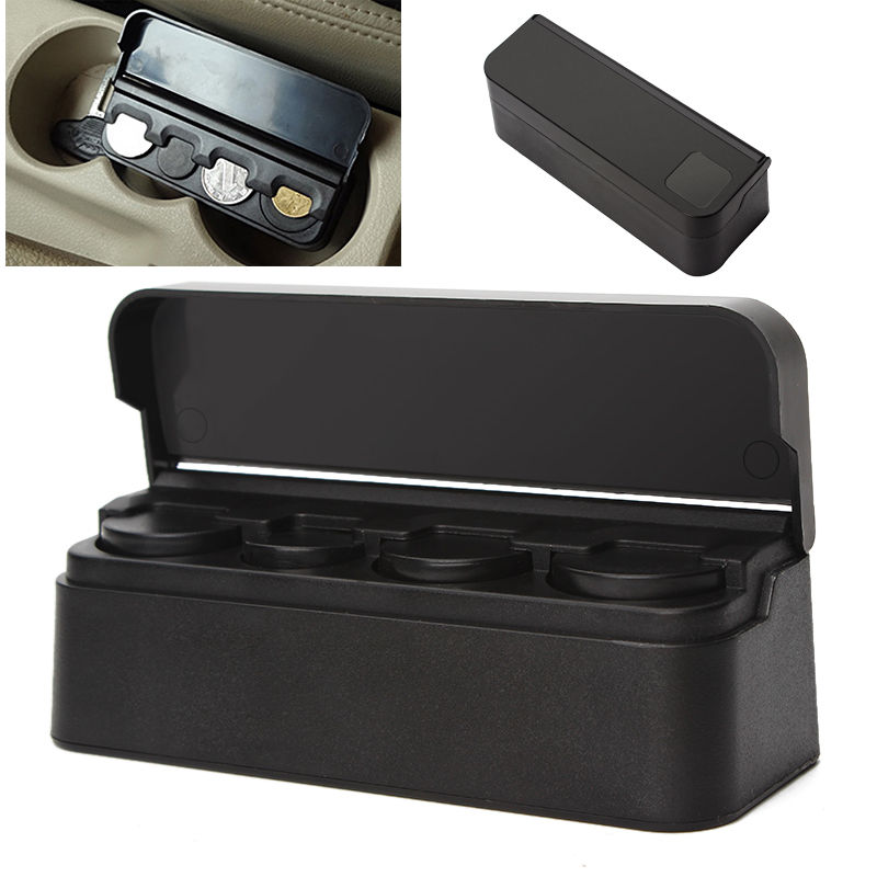 black car auto interior plastic coin case storage box. Black Bedroom Furniture Sets. Home Design Ideas