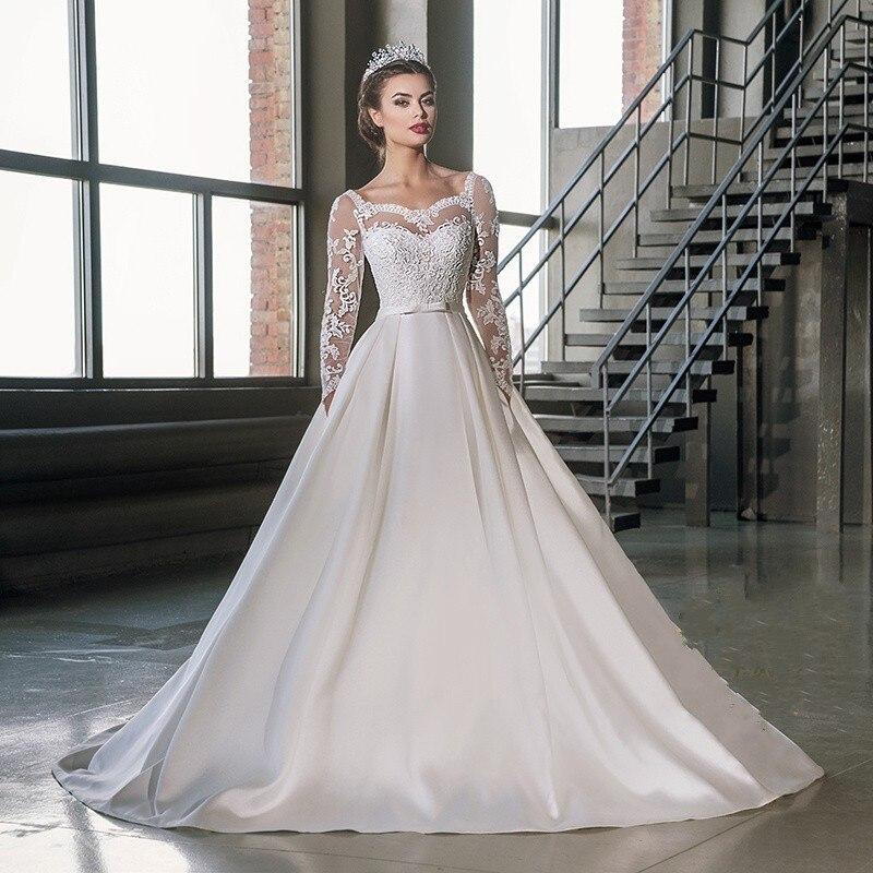Vestido De Noiva 2017 Elegant Lace Long Sleeve Muslim