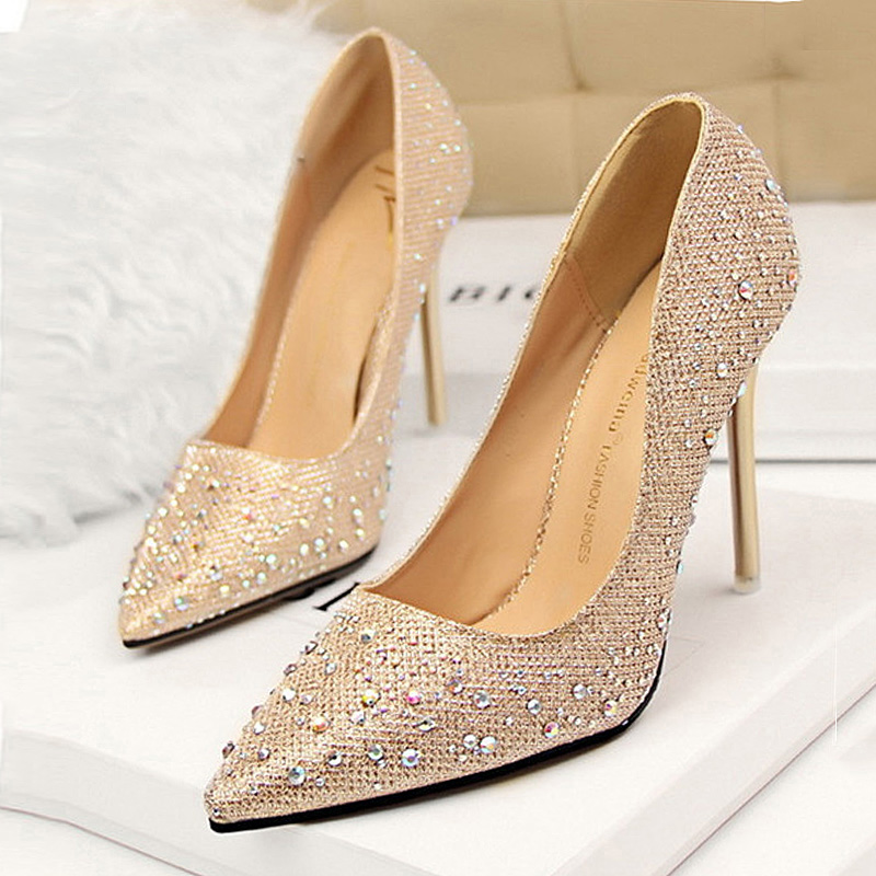 Rhinestone Women Pumps Classic Stiletto Women High Heels Sexy Pointed Toe Women Heel Pumps 10cm Ladies Shoe Party Wedding Shoes aiweiyi women high heels prom wedding shoes ladies gold silver glitter rhinestone bridal shoes stiletto high heel party pumps