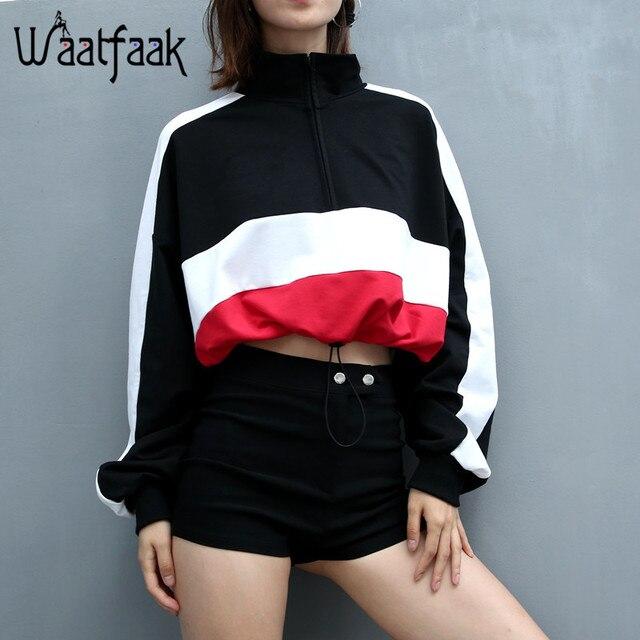 Waatfaak Long Sleeved Pullovers Hoodies Deep V Neck Top Drawstring Loose Cropped Patchwork Sweatshirt Women Kawaii Oversize 2018 by Waatfaak