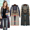 Hot Sale Ladies Long Knitted Cardigan Loose Casual Hooded Geometric Jacket Coat Boho Sweater Free Shipping