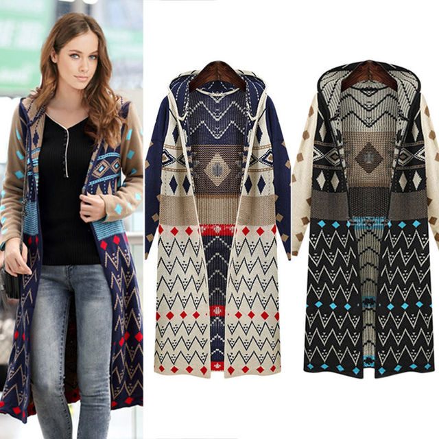 Hot Sale Ladies Long Knitted Cardigan Loose Casual Hooded Geometric ...