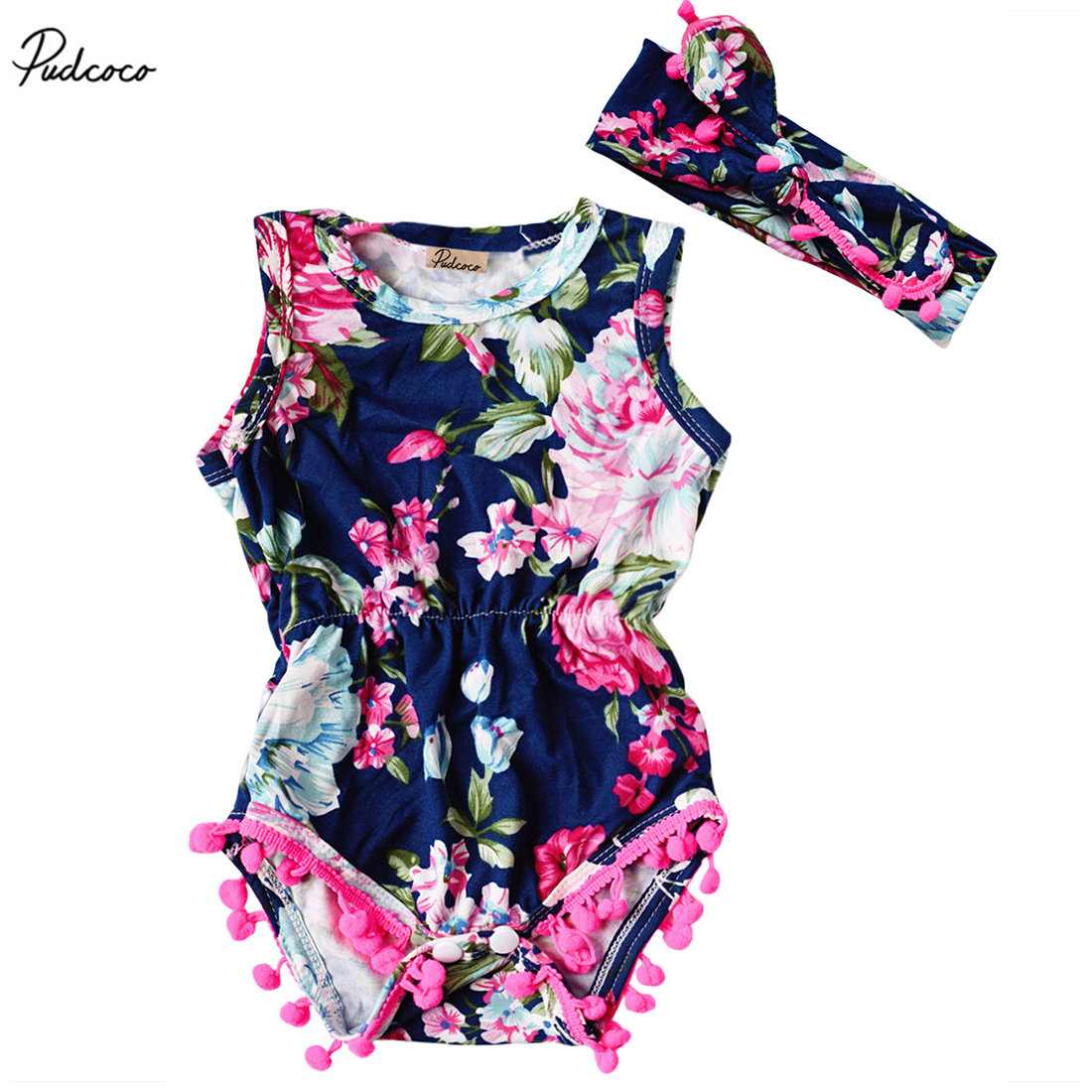 Newborn Baby Girls 2017 New Summer Floral   Romper   Sleeveless Tassel Jumpsuit Headband Sunsuit Outfits Clothes 0-24M