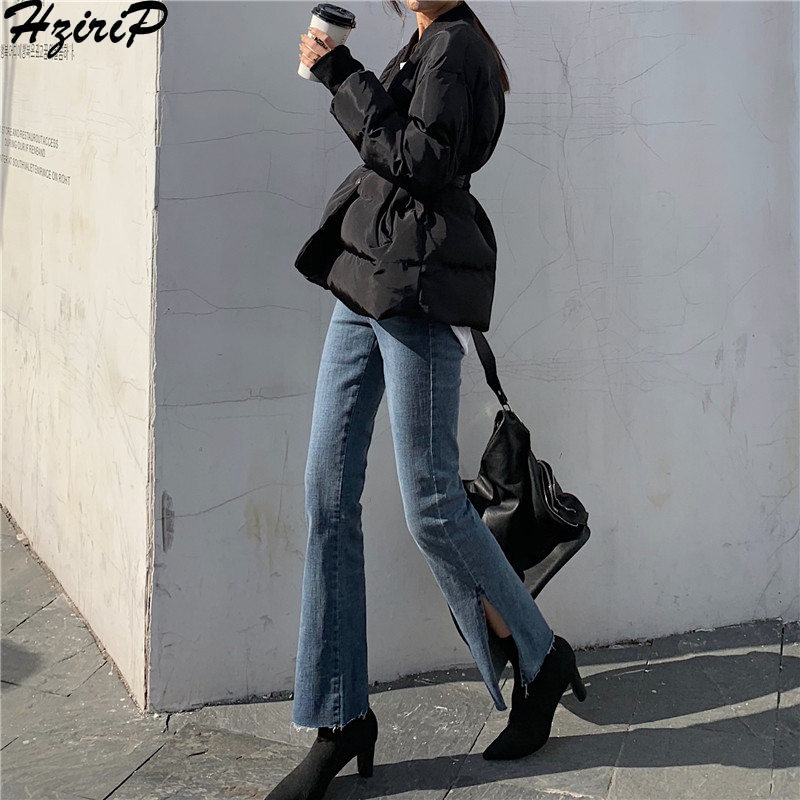 HziriP High Waist Slim Women Fashion 2019 Spring Autumn Retro Wild New Split Solid Arrival Woman Office Lady Trousers Plus Size