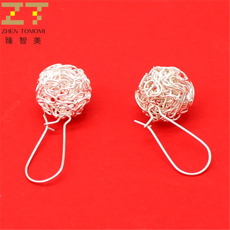 ER166  Girl fashion wild ball Yinsi hollow silver plated Drop Earrings for Women jewelry accessories