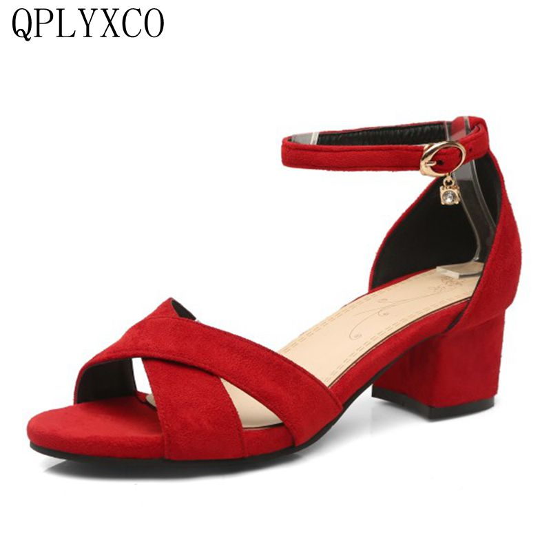 Фотография QPLYXCO 2017 Big &Small size 31-47 women Concise sandals shoes woman Buckle strap sandals heels footwear heeled Dance shoes p07