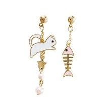 Fashion cat fish bone asymmetry earrings Gold stars Black cat earrings female popular cat eat the fish stud earrings for women