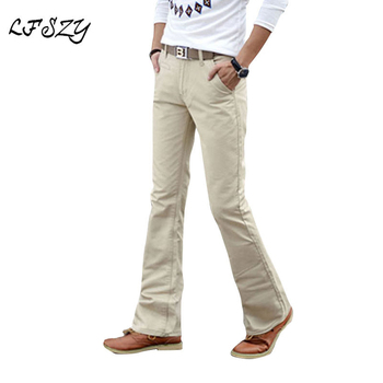 2018 Spring Summer Autumn Casual Flare Leg Boot Cut Jeans Men Slim Jeans  High Fashion Men's White Jean Trouser Size 27-36 38