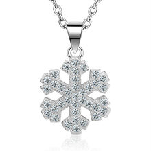 Женское ожерелье с подвеской в виде снежинки кристаллами
