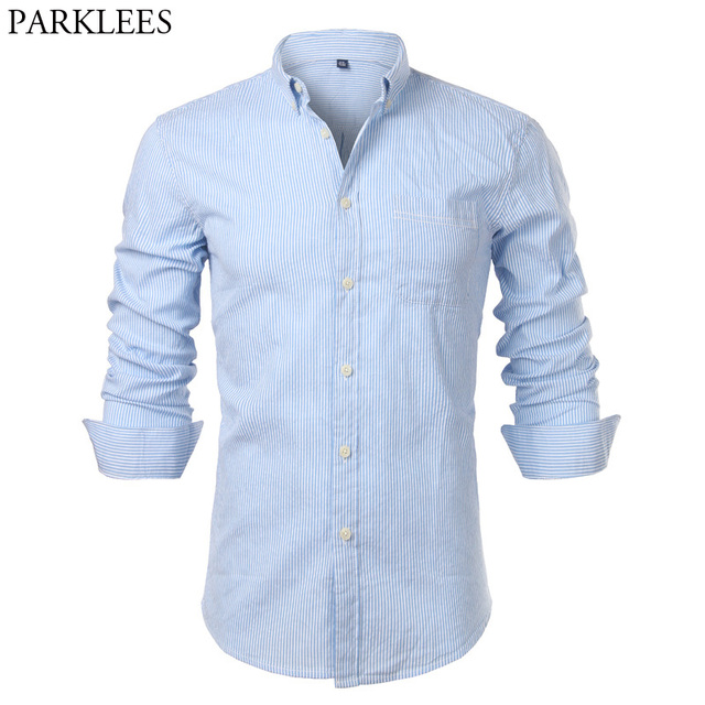 a71824a38b Men s Hipster Casual Slim Fit Long Sleeve Button Down Dress Shirts 2018  Fashion Brand Vertical Striped