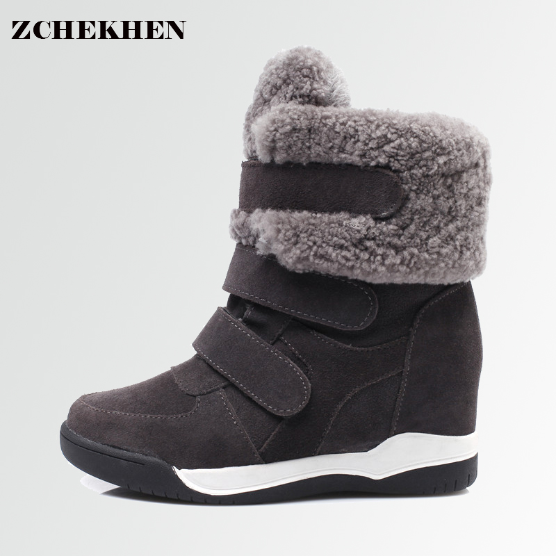 Fashion sneakers Women fur snow Ankle Boots Wedges Girl Shoes Height Increasing Hook Loop Winter Shoes hip hop Star Runway #26