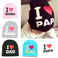 Best Christmas Gift I Love Papa Mama Print Baby Hats Baby Knitted Warm Cotton Beanie Hat Toddler Baby Kids Girl Boy Hats
