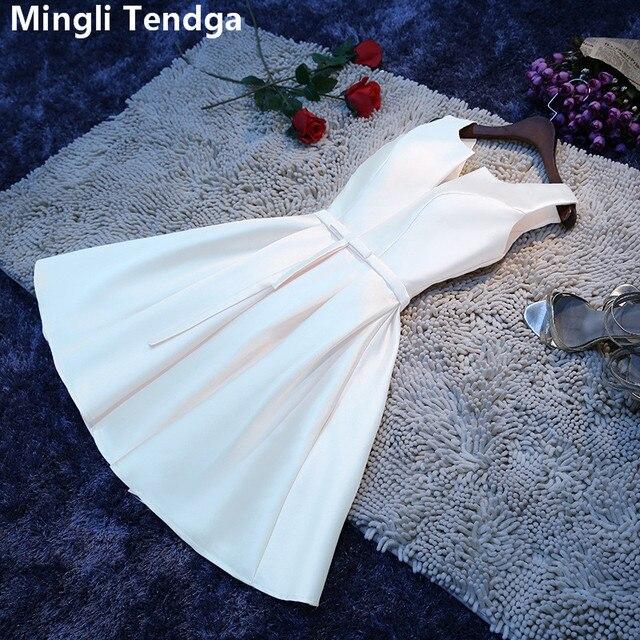 Mingli Tengda 2018 לבן אלגנטי סאטן שושבינה שמלות קצר V צוואר שושבינה שמלה בתוספת גודל אונליין מסיבת חתונה שמלה