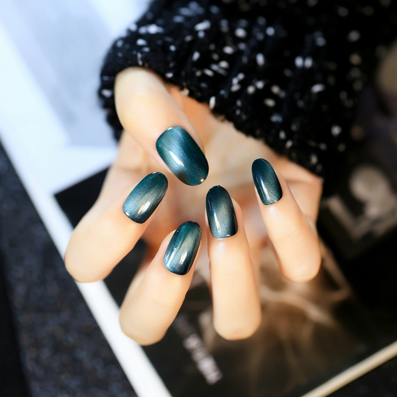 Oval Top Pre designed Fake Nails Black Gradient Blue Green Cat Eye ...