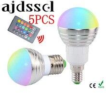 5PCS E27 E14 LED RGB Bulb lamp AC85-265V 5W LED RGB Spotlight dimmable magic Holiday RGB lighting+IR Remote Control 16 colors