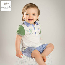 DB4994 dave bella summer baby unisex boys girls beige clothing set kids printing stylish clothes baby