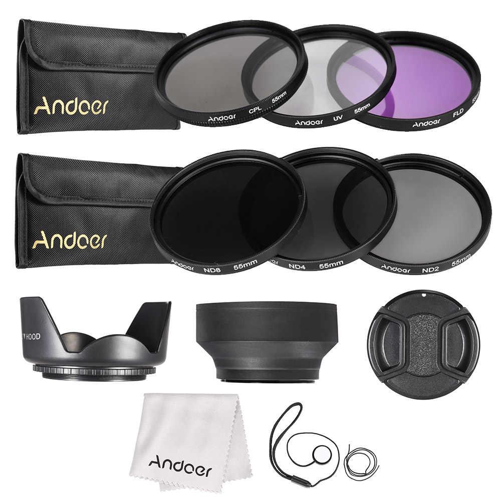 Andoer 55mm Kit de filtros para lentes UV + CPL + FLD + ND con bolsa de transporte/tapa de lente/soporte de lente/tulipán y capuchas de goma/paño de limpieza