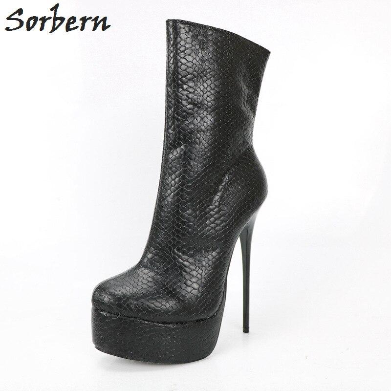 Shiny Zapatos Colores Mujeres De Sorbern Tobillo Plus Piel 13 Tamaño Botas Black custom Tacones Color Serpiente Plataforma Altos Mujer wPIazIdqx
