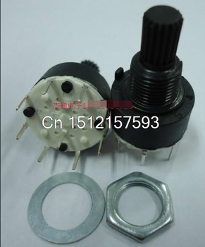 2pcs 6mm Diameter Knurled Shaft 2 Pole 3 Positions Rotary Switch DC 60V 0.3A SR16-2-3 image