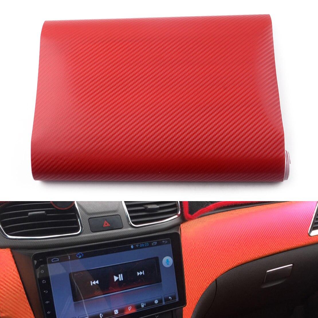DWCX Universal Car SUV Red PVC Carbon Fiber Vinyl Interior Roll Accessories Panel Wrap Sticker 127x30cm