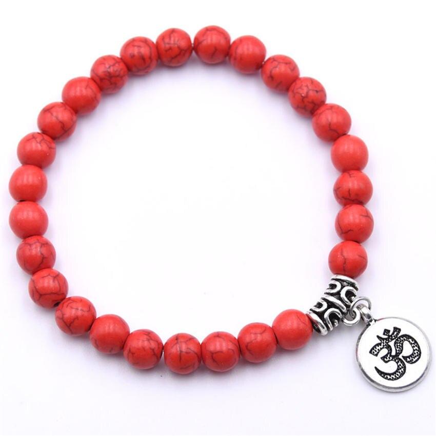 Natural Stone Strand Bracelet Yoga Chakra Mala Bracelet OM Lotus Women Men Beaded Charm Bracelet Jewelry Pulseras dropshipping - Окраска металла: ZT110-3