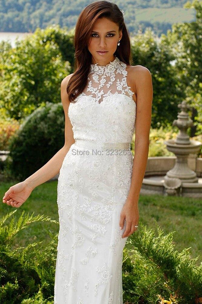 Fashion New Sheath Casual Lace Bridal Wedding Dresses High Neck Floor Length No Train Lk132 Dress France Dress Jcpenneydress Times Aliexpress