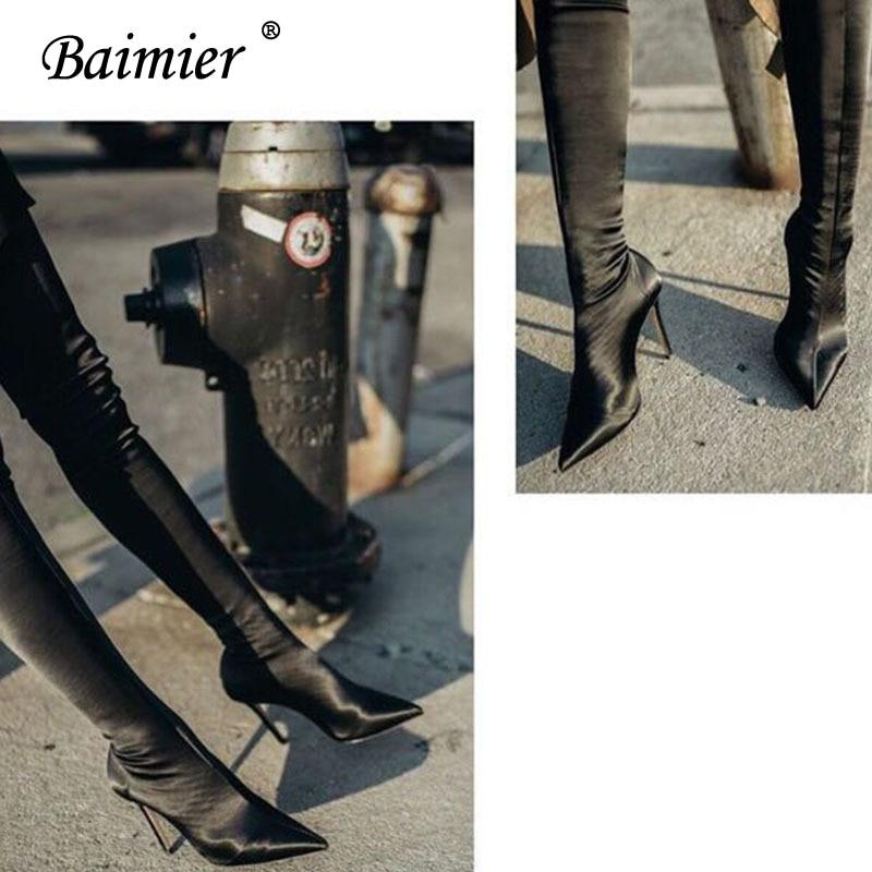 Pointu Automne Genou black Style Boots Baimier Mince Mode Street Chaussures Femme Apricot Boots Soie Bottes Haute Noir Talon Chaussette Femmes LUpGqVzjMS