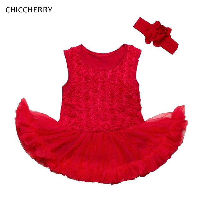 f7424952e3fea 3D Lace Rose Wedding   New Year Party Outfits Red Baby Girl Lace Dress Bow  Headband Set Robe Bebe Mariage Christmas Costumes