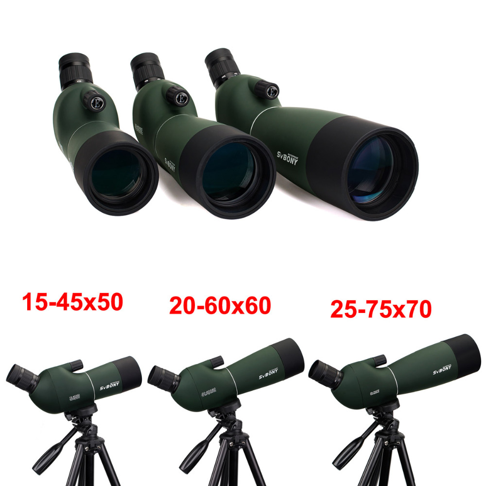 SVBONY SV28 50/60/70mm Spotting Scope Zoom Telescope Hunting Angled Waterproof +Tripod Soft Case Monocular F9308Z цена