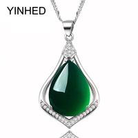 YINHED Brand Luxury Natural Green Jade Chalcedony Pendant Necklace 925 Sterling Silver Jewelry Necklace For Women