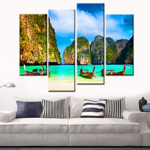 modular wall paintings 4 panels canvas print wood boat on ocean and