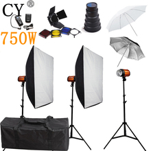 CY Photography Studio Flash Lighting Kits 750ws Storbe Light Softbox Stand Set Photo Studio Accessories Godox Smart 250SDI