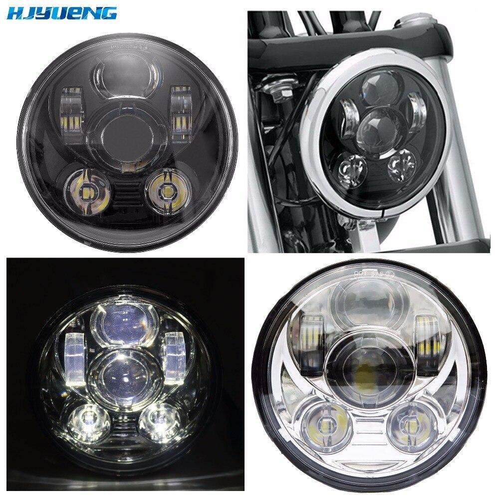 5.75 Angel Eye DRL Harley Parts Led Moto Headlight Harley Sportster 1200 72 48 883 Daymaker Projector LED Chrome Round Headlamp