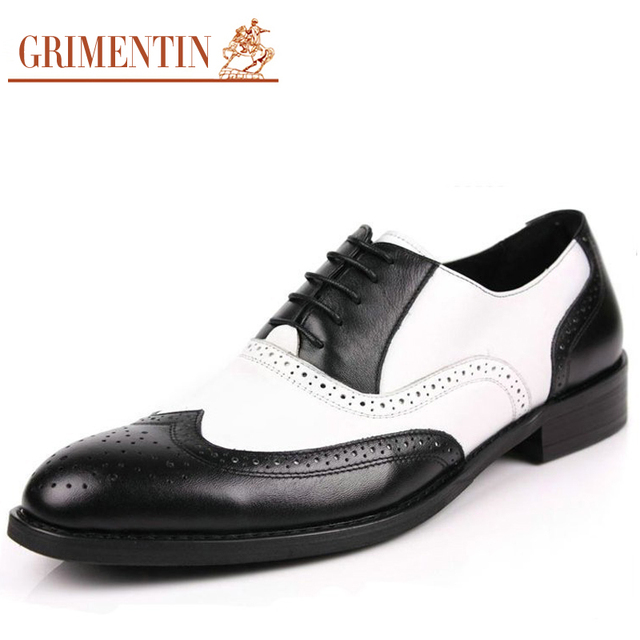 Aliexpress.com  Buy Black And White Mens Shoes Dress Genuine Leather Oxford Shoes For Men ...