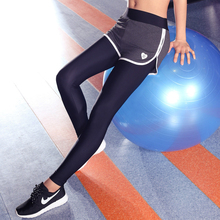 2017 Casual Sexy Women Fitness Leggings Fake Two Pcs Sporting Workout Compress Skinny Leggins Elastic Breathable Stretch Pants