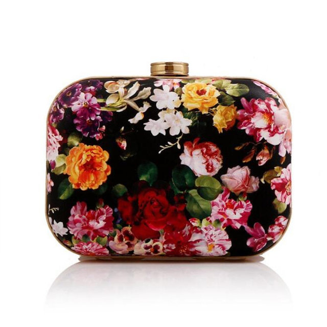 2016 New Arrival Flower Printed Clutch Bag Women Evening Bag Party Day Clutch Wedding Hand Bag Chain Purses And Handbags Wallet