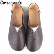 Careaymade-New 2017 spring ,The retro literature Mori girl flat shoes, Handmade genuine leather shoes,Slip-on for lazy shoes
