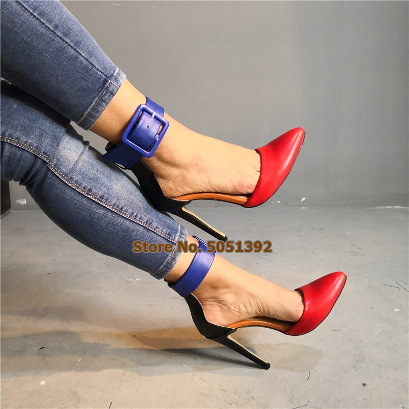 Women Super High heeled Shoes Pointed Toe Color Patchwork Fashion Banquet Shoes Thin Heel Pumps Buckle Strap in High Heels from Shoes