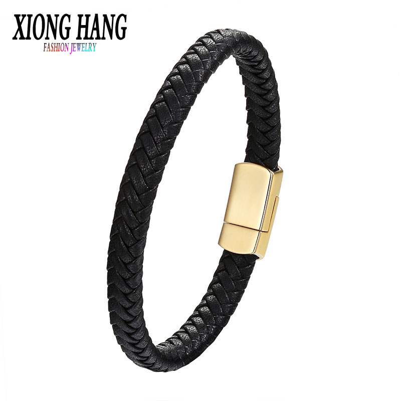 Xionghang Men Jewelry Punk Black Braided Geunine Leather Bracelet Stainless Steel Magnetic Buckle Fashion Bangles Retro Style