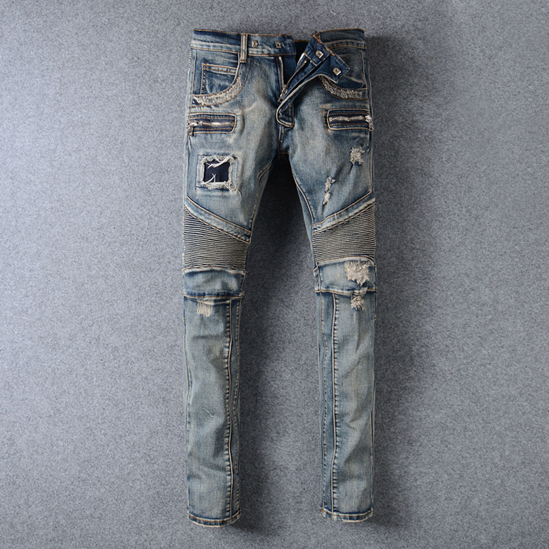 Balplein Brand Mens Jeans Vintage Retro Designer Slim Fit Ripped Jeans Homme Streetwear Fashion Youth Destroyed Biker Jeans Men ripped jeans men 2017 brand new destroy hole mens biker jeans casual slim fit mens denim pants novelty streetwear jeans homme