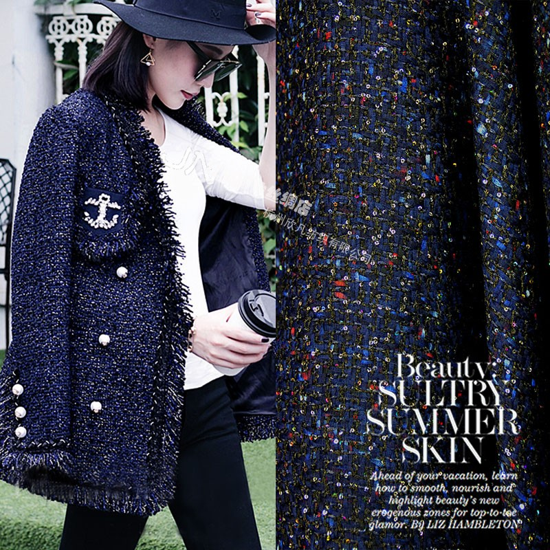 impression high grade small fragrance sequins woolen knitted autumn and winter fashion jacket skirt suit fabrics