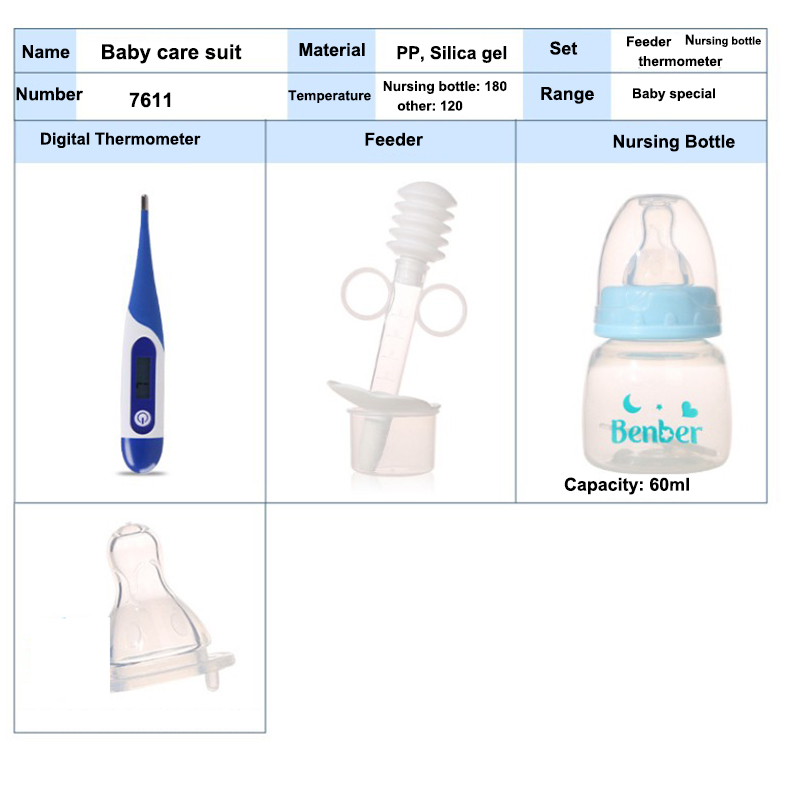 Baby care suit Baby thermometer+Feeder+60ml Nursing Bottle+Pacifier Safe Silica Baby Care product For Infant Feeding/Care
