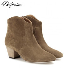 Deification Solid Chunky Heel Cowboy Riding Boots Fashion Cow Suede Ankle Boots Round Toe Motorcycle Shoes For Woman Botas Mujer fashion brand luxury buckle suede leather boots round toe kanye west cow leather chunky heel combat london ankle booties