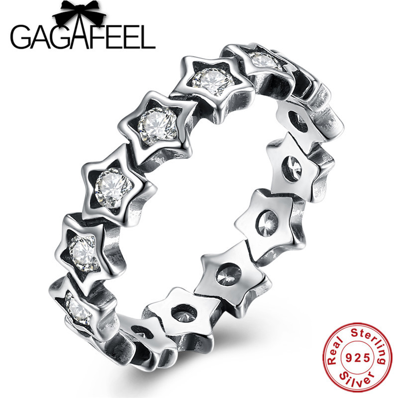 GAGAFEEL New 925 Sterling Silver Stackable Star Ring Fashion Star Trail Ring For Women Engagement Fine Jewelry